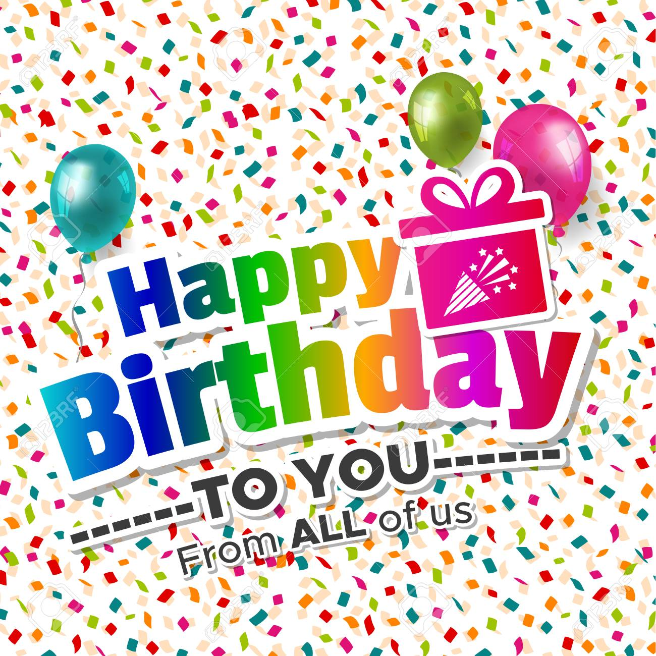 Miraculous Happy Birthday To You From All Of Us Card Royalty Free Cliparts Personalised Birthday Cards Bromeletsinfo