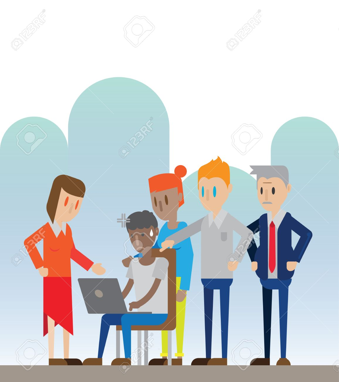 employee work under pressure from upper position and boss vector illustration stock vector 62228171