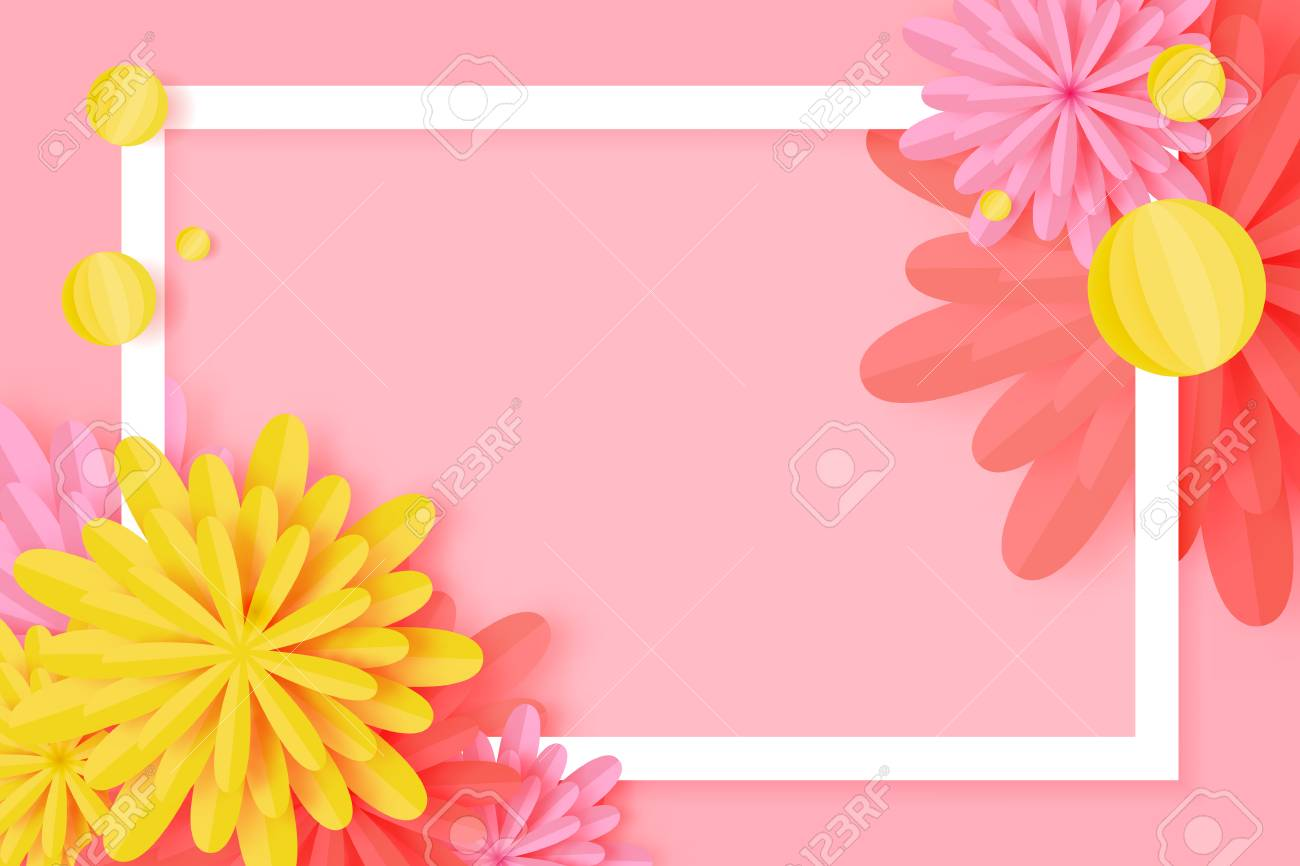 Paper cut floral greeting card origami flower holiday background paper cut floral greeting card origami flower holiday background square frame space for mightylinksfo