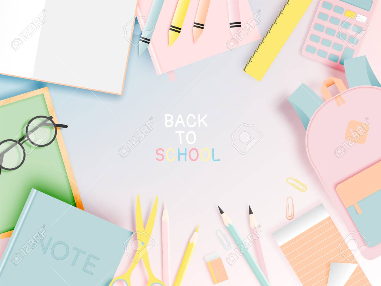 Various stationery for back to school in paper art style with pastel color vector illustration - 101052269