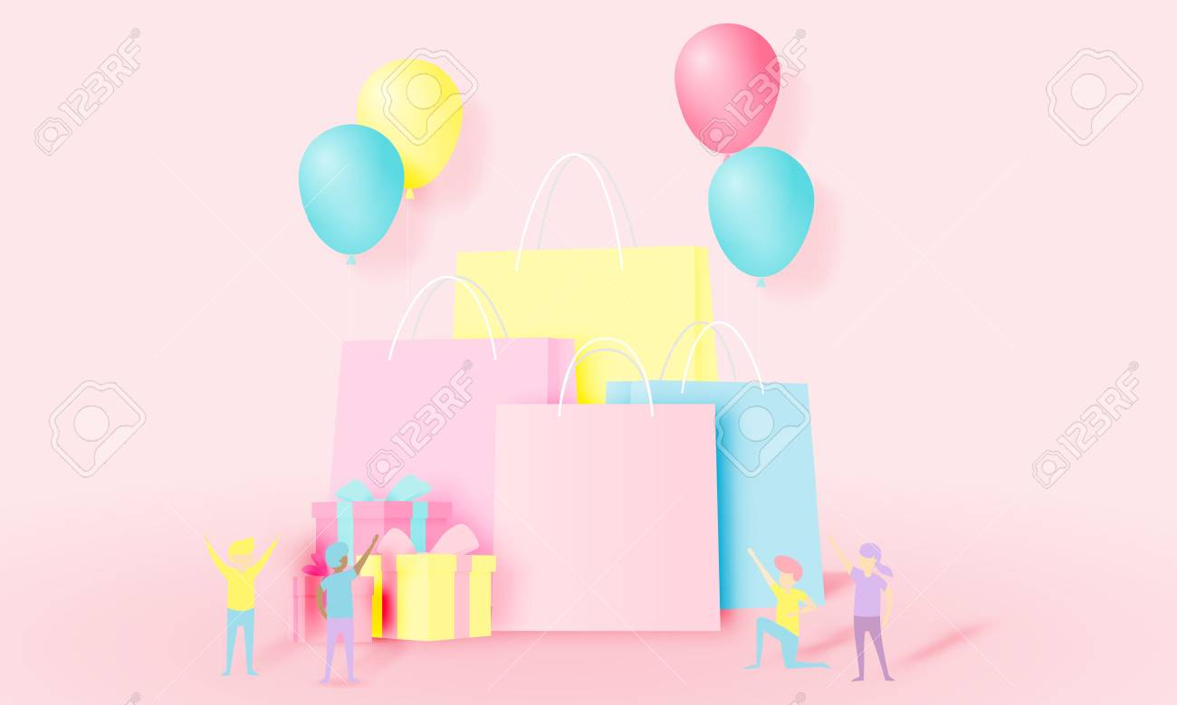 Shopping bag and present box with funny people in paper art style and pastel scheme vector illustration - 109983748