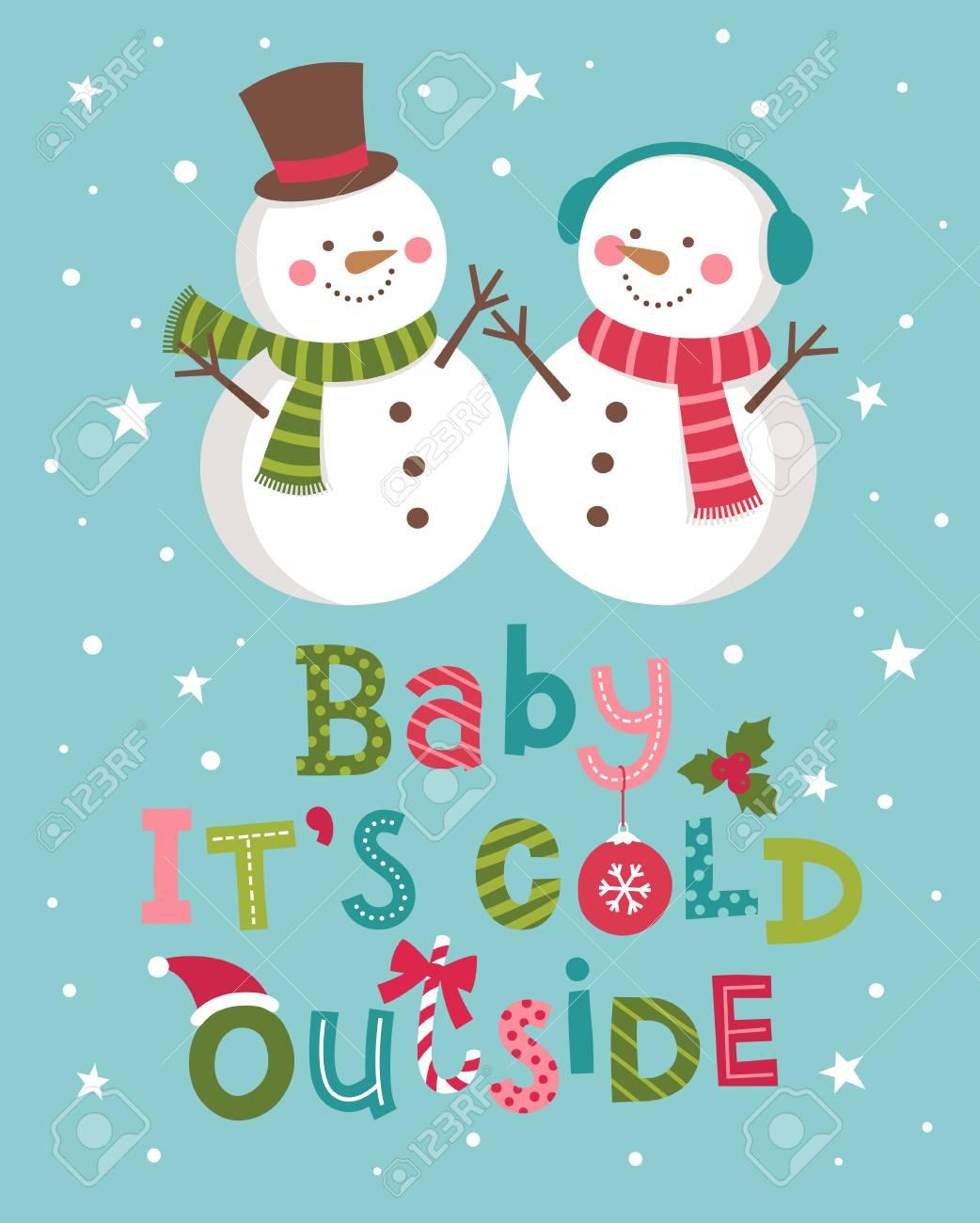 赤ちゃん漫画雪だるまカップル イラストと冷たい外のレタリングです