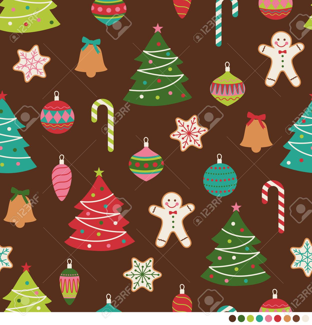 Christmas Backgrounds Cute.Cute Christmas Ornaments Seamless Pattern Background