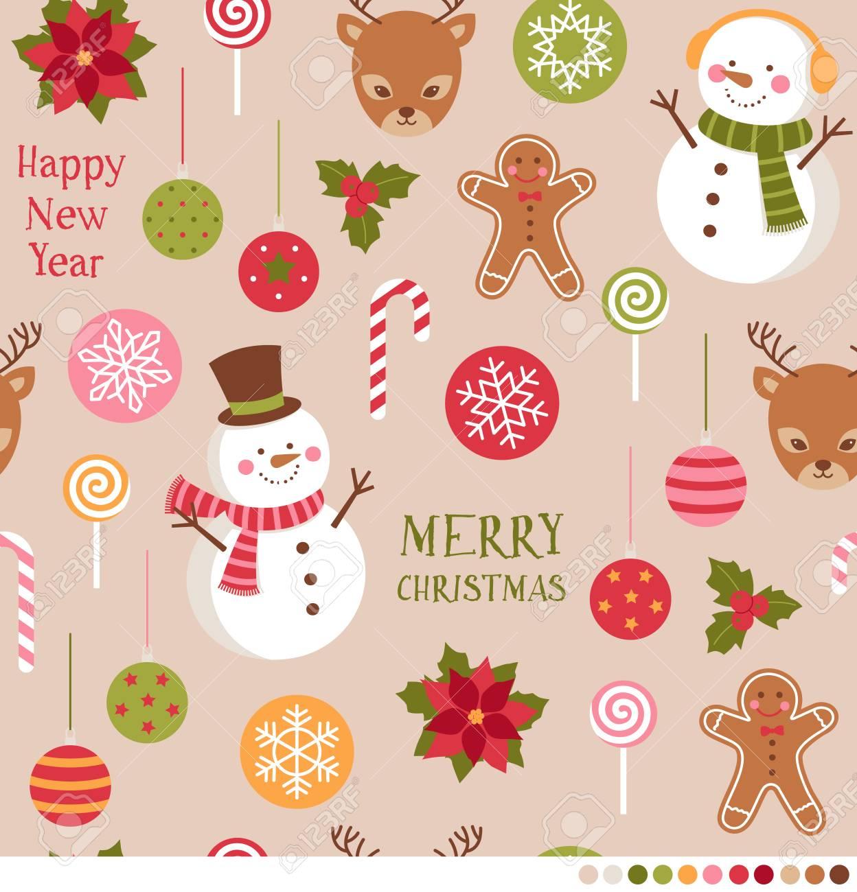スノーマン トナカイや装飾品のイラストがかわいいクリスマスのシームレス パターンのイラスト素材 ベクタ Image