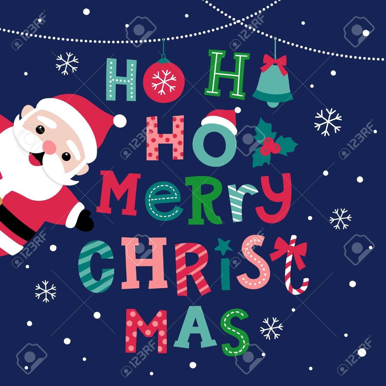 Ho Ho Ho Merry Christmas.Ho Ho Ho Merry Christmas Lettering And Cartoon Santa Claus Typographic
