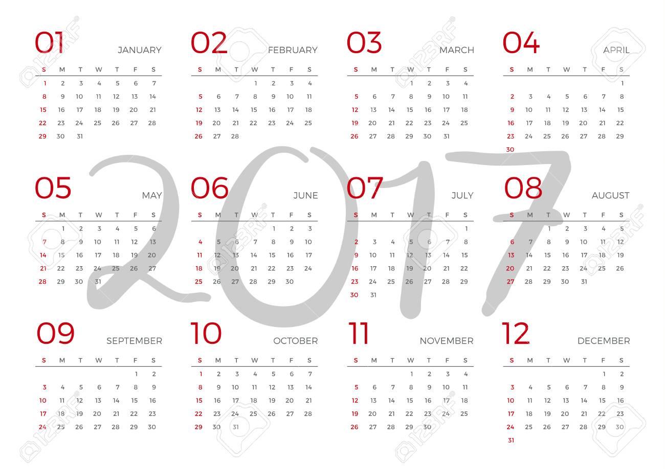 Calendario 2017 Plantilla De Planificación Durante 12 Meses ...