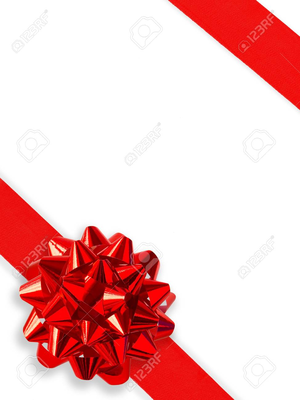 Red Gift Ribbon Over White (with clipping path for easy background removing) Stock Photo - 583870