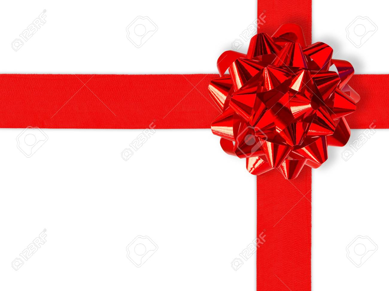 Red Gift Ribbon Over White (with clipping path for easy background removing if needed) Stock Photo - 633323