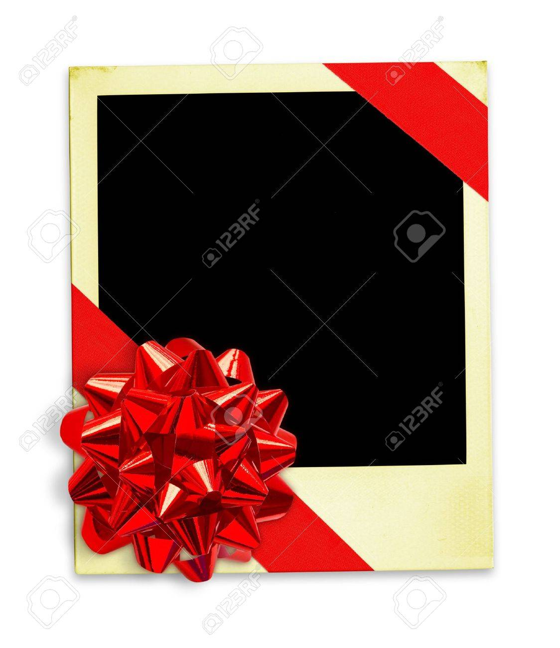 Red gift bows border with clipping path for easy background removing - Frame Wrapped In A Gift Bow With Clipping Paths For Easy Framing Your Picture And