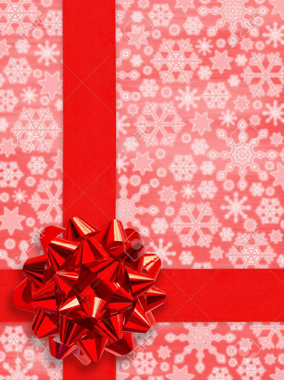 Christmas Present (Red Gift Ribbon Over Snowflakes Background (with clipping path for easy picking out the ribbon)) Stock Photo - 633282