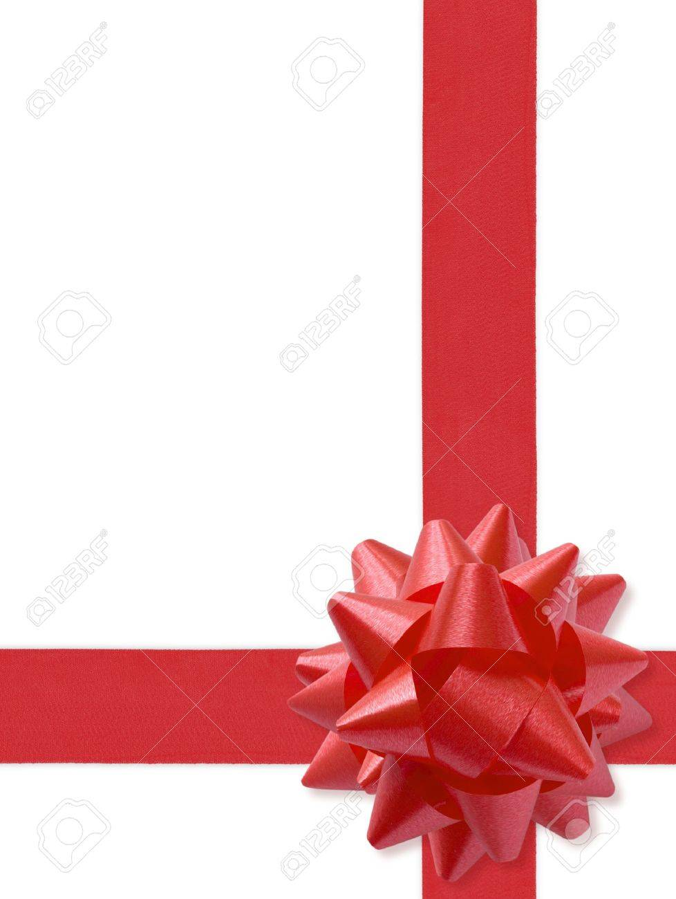 Red gift bows border with clipping path for easy background removing - Festive Ribbon Isolated On White With Clipping Path For Easy Background Removing If Needed