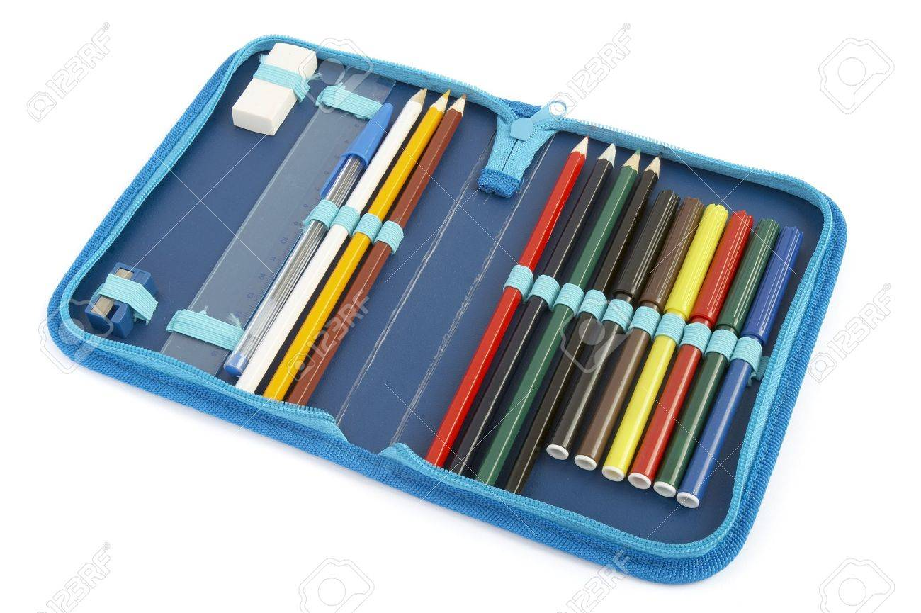close up of color pencils in pencil case on white background with path Stock Photo - 4231854