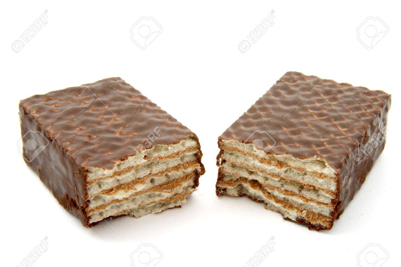Close Up Of Chocolate Wafers On White Background Stock Photo ...