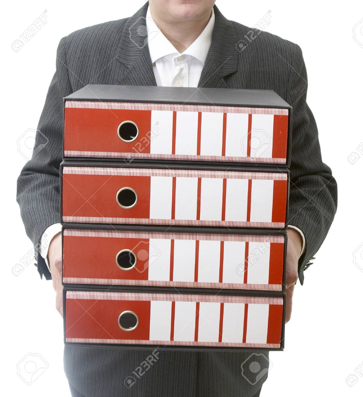 close up of businesswomanholding file folders on white background Stock Photo - 4327890