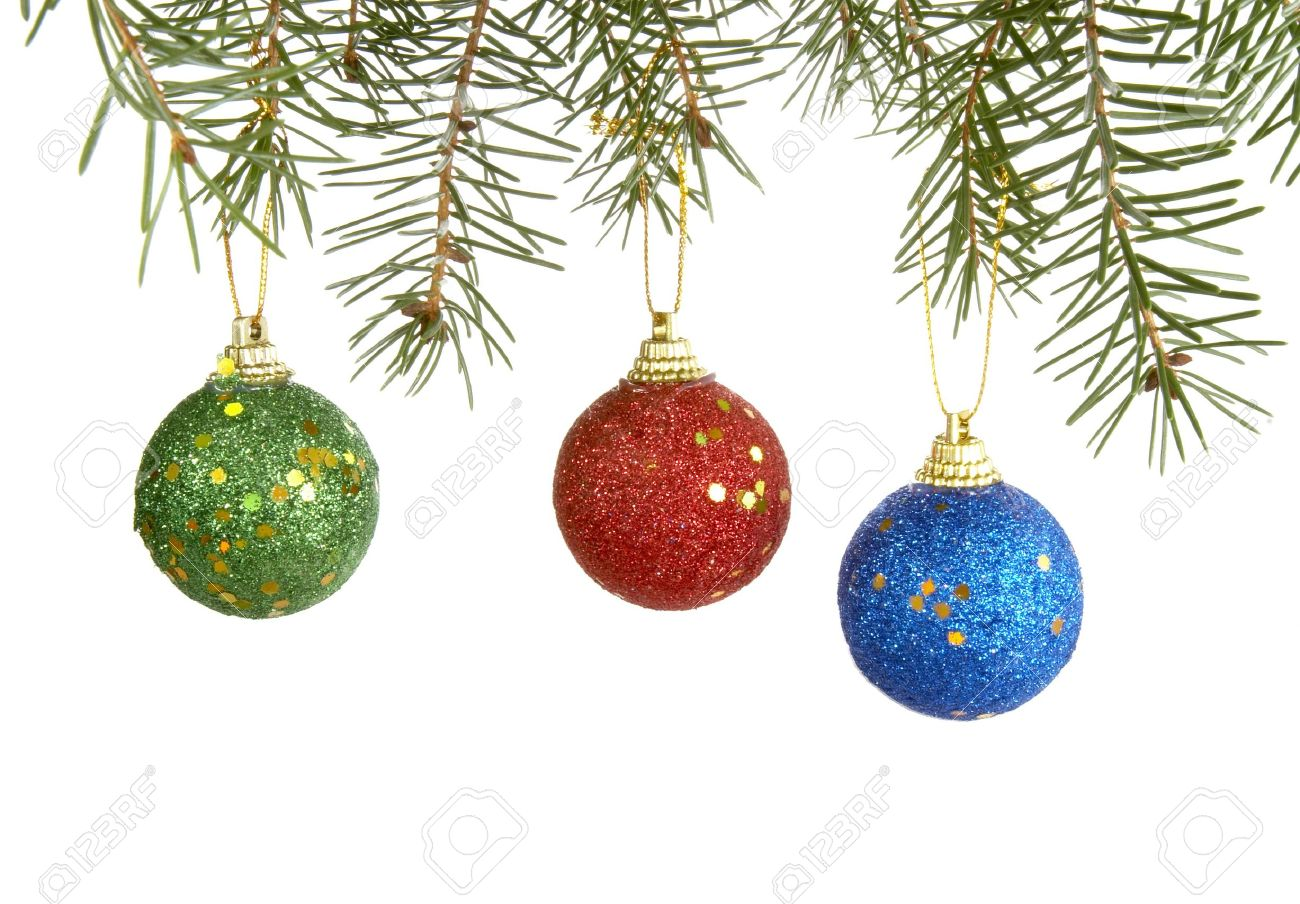 Christmas Ornaments Hanging On White Background Stock Photo ...