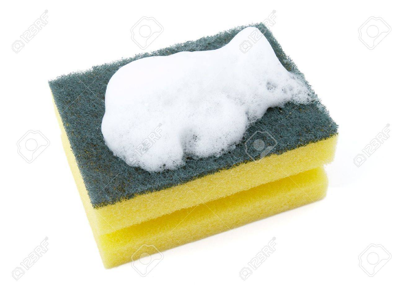 Close Up Of Kitchen Sponge With Foam For Do The Dishes On White ...