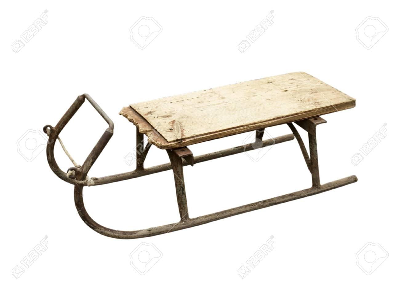 close up of an old vintage sledge on white background Stock Photo - 4656001