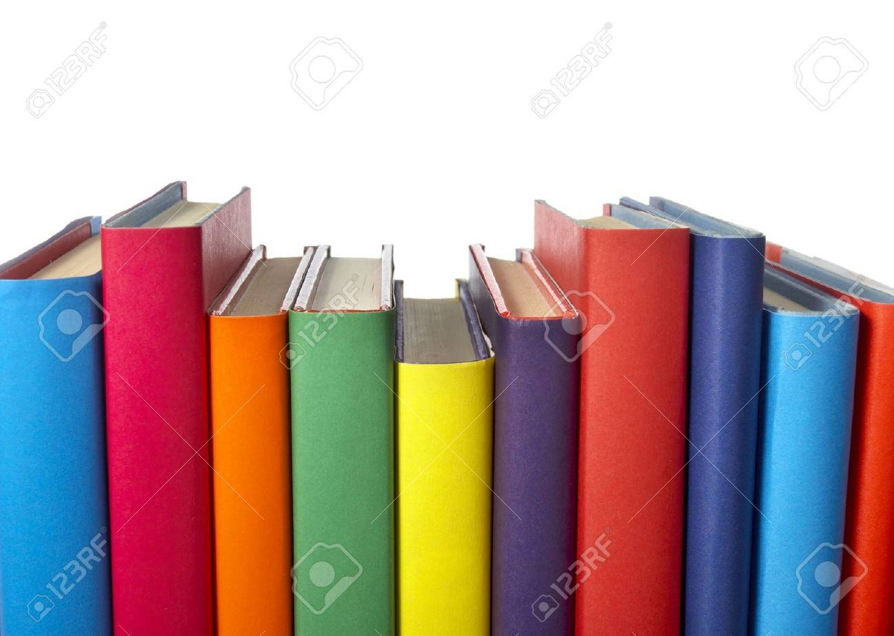 Close Up Of Stack Of Colorful Books On White Background Stock Photo ...