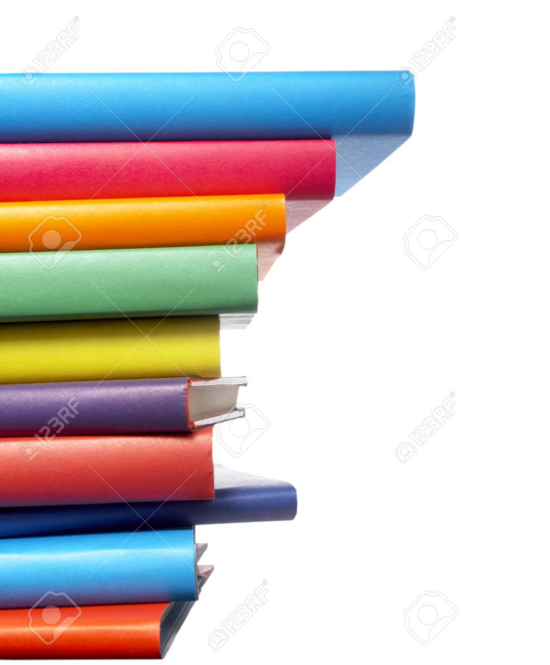 close up of stack of colorful books on white background Stock Photo - 4872231