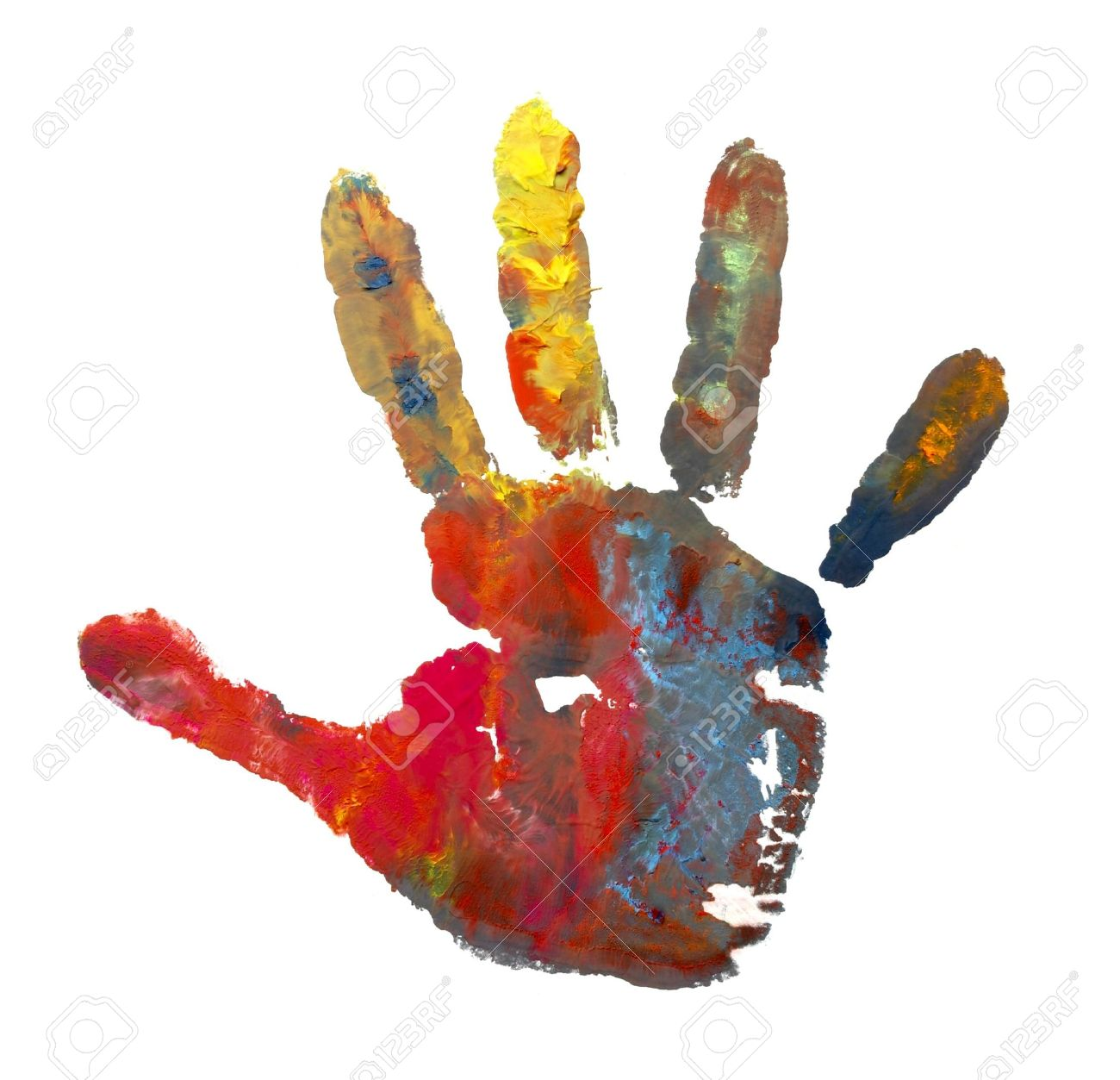 close up of child  hands painted with watercolors mark on white background Stock Photo - 4983465