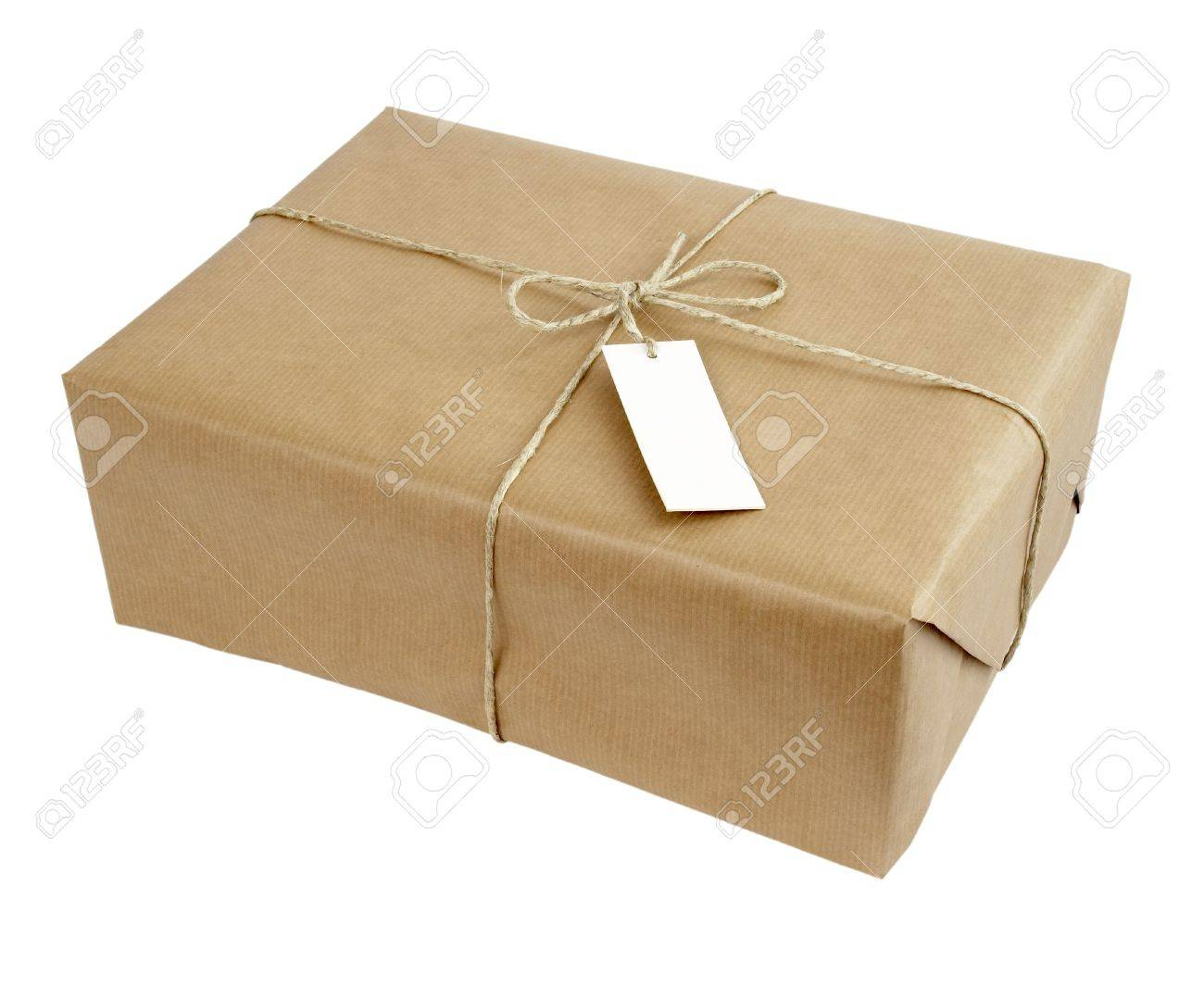 close up of carton  box post package on white background Stock Photo - 5223528