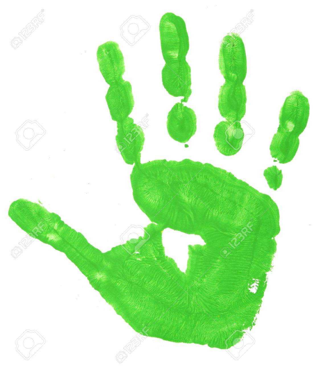 close up of colorful child hand prints  on white background Stock Photo - 5336207