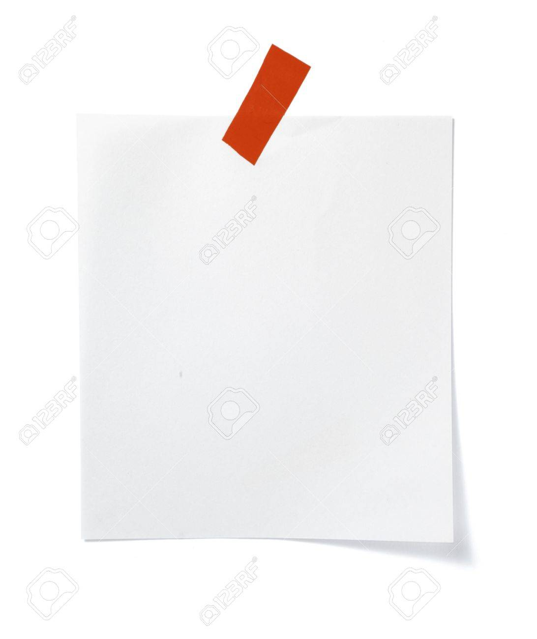 close up of post it reminder with red push pinon white background with clipping path Stock Photo - 5664929