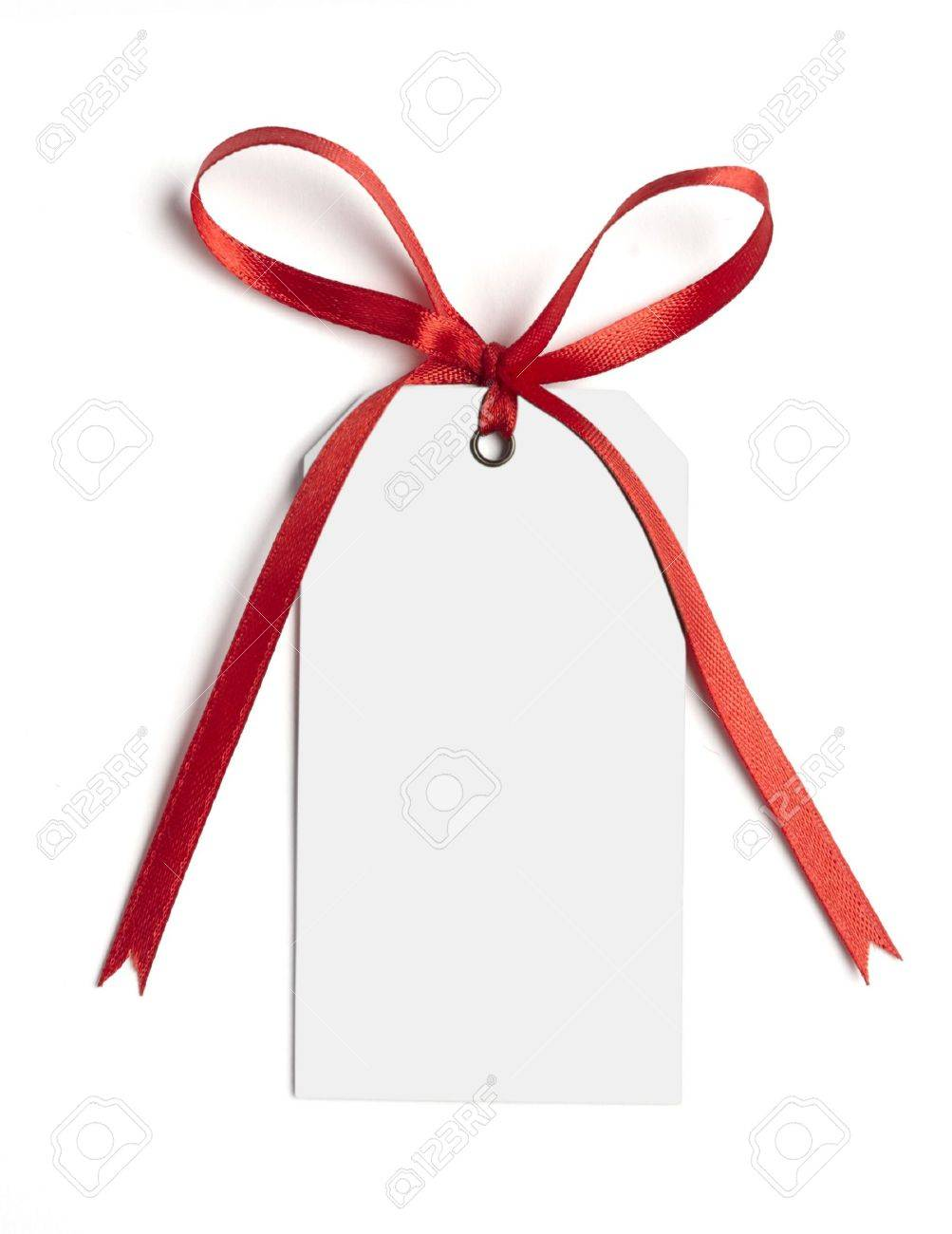 close up of white card note with  red ribbon on white background on white background with clipping path Stock Photo - 5800847