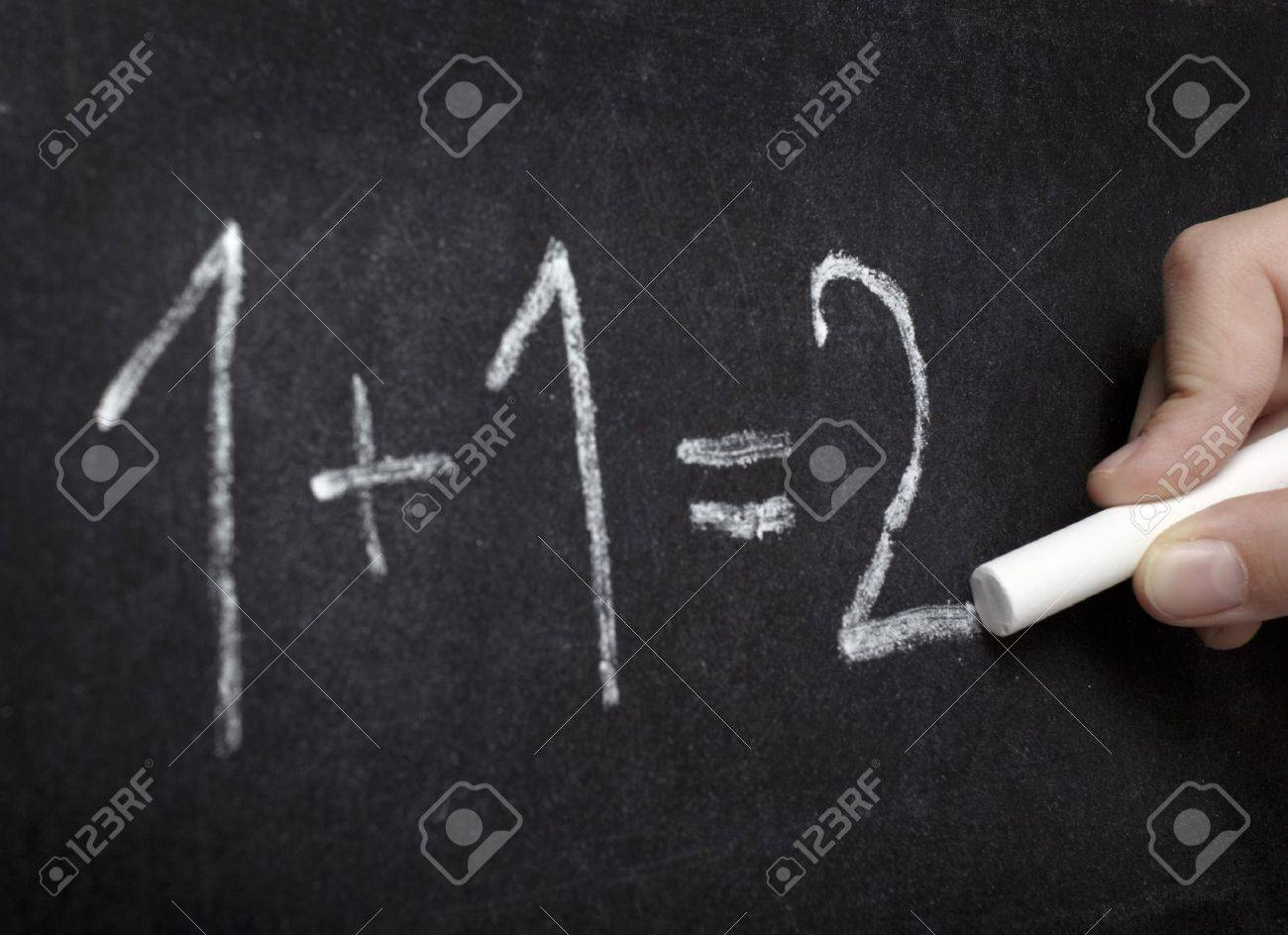 Closeup Of Chalkboard And Simple Math Addition Stock Photo, Picture ...