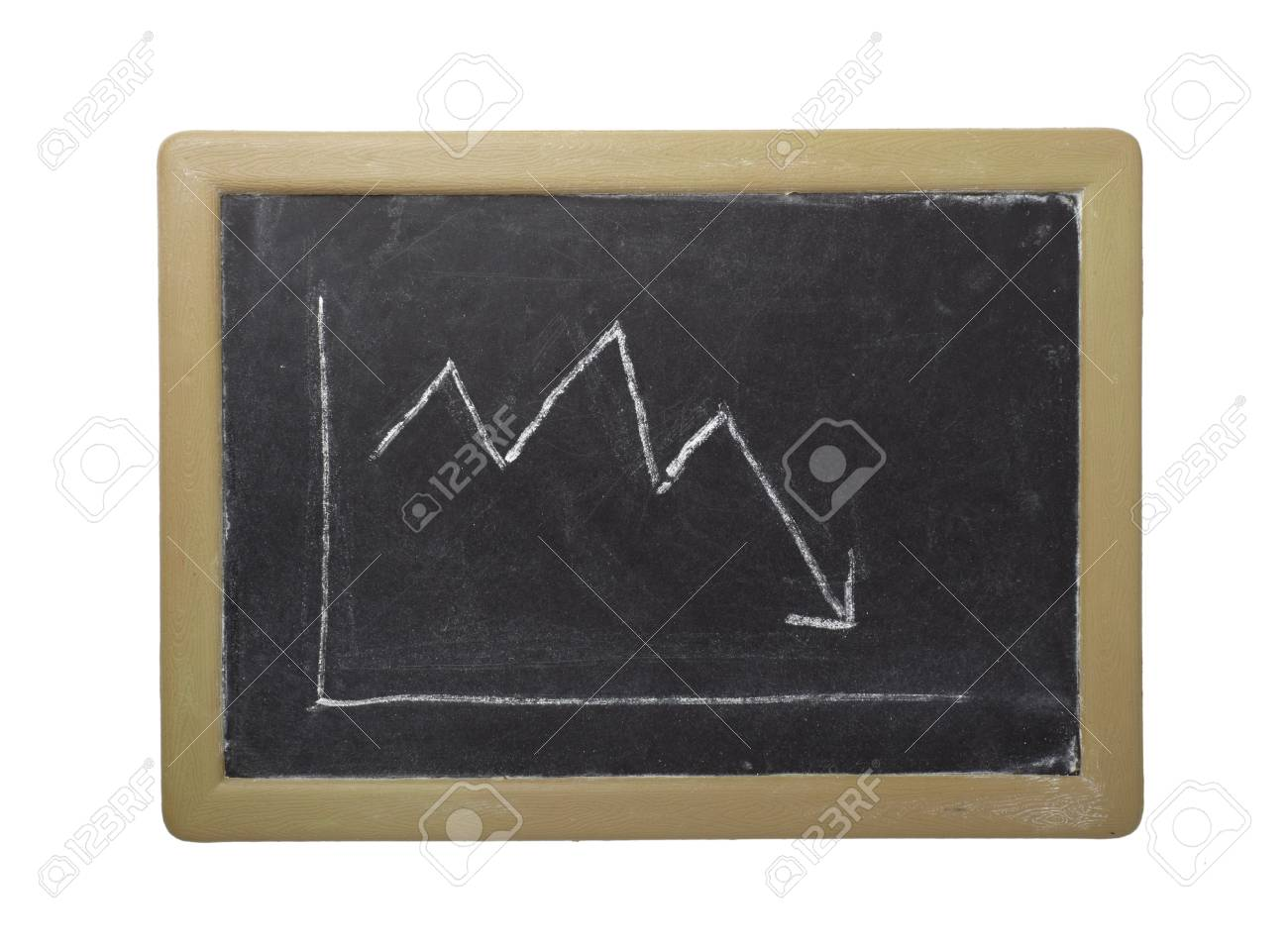 close up of stock market chart on a chalkboard isolated on white background with clipping path Stock Photo - 6336860