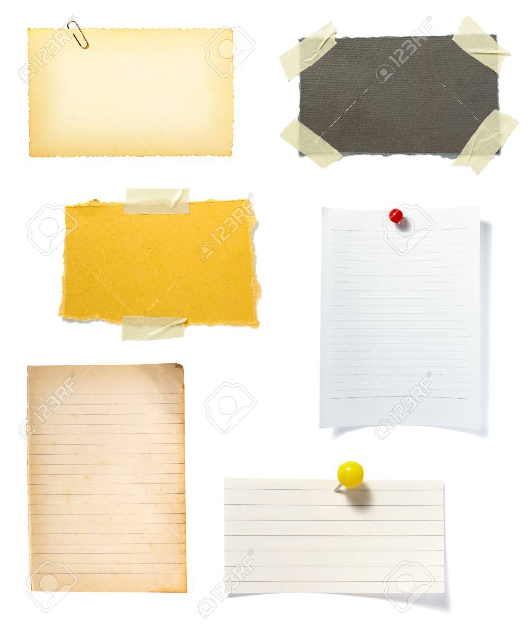 collection of old note paper  on white background. each one is in full cameras resolution Stock Photo - 6353239