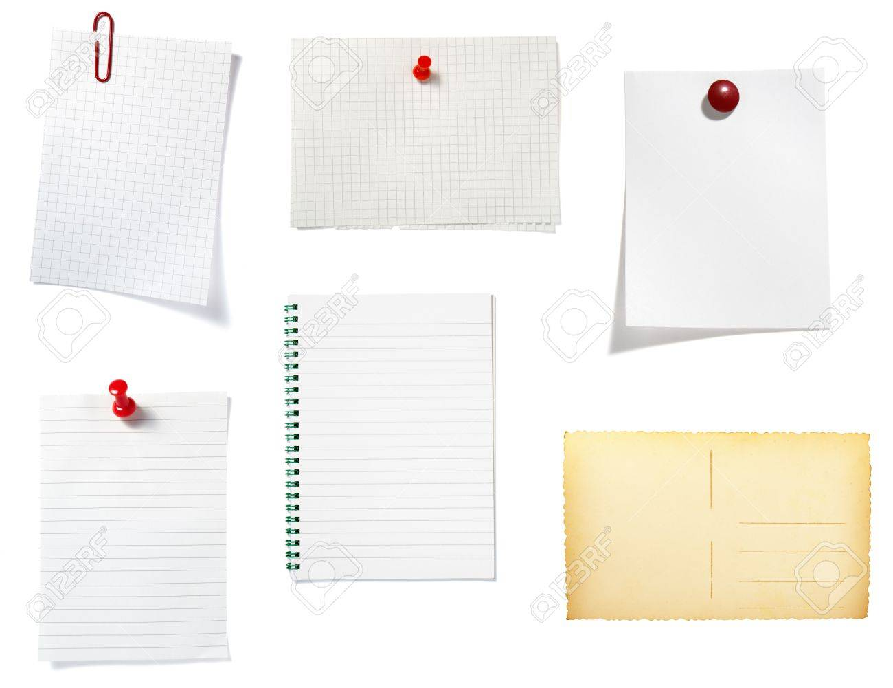 Collection Of Old Note Paper On White Background Each One Is – Collection Note