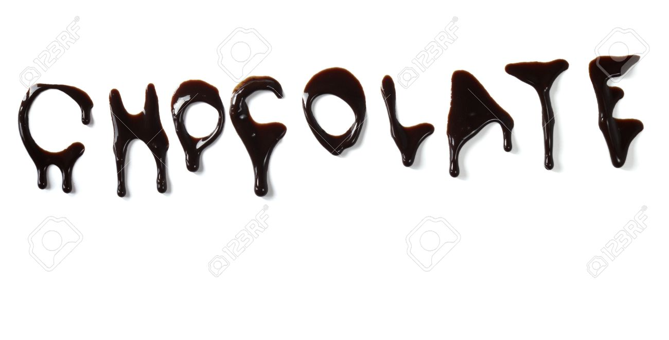 close up chocolate syrup letters leaking on white background Stock Photo - 6591027