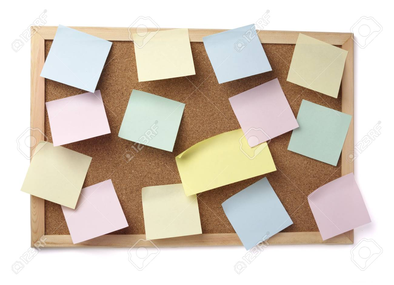 collection of various note papers  on cork board Stock Photo - 6662545