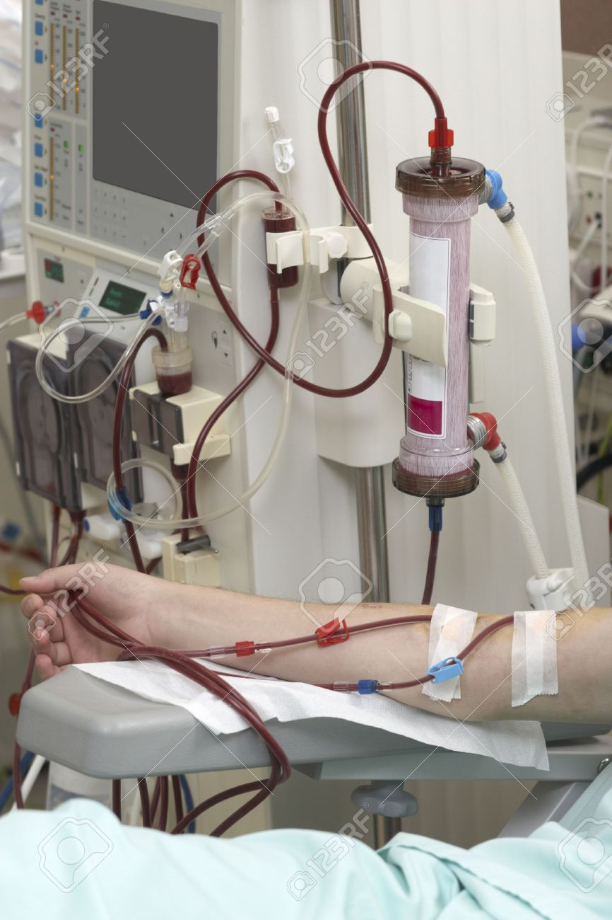 patient helped during dialysis session in hospital Stock Photo - 6745111