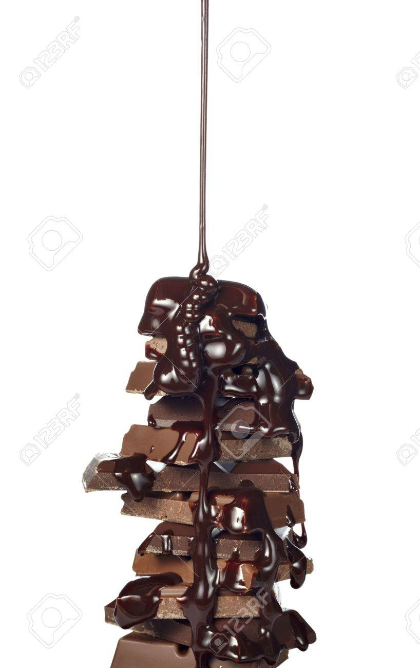chocolate syrup leaking on stack of chocolate blocks Stock Photo - 6805550