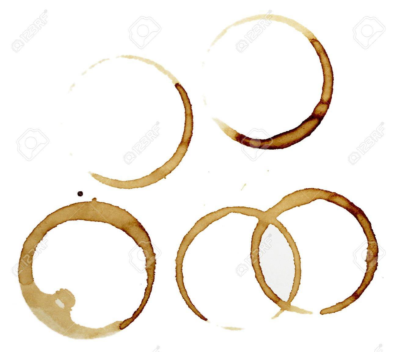 close up of coffee cup marks on white background Stock Photo - 6913659
