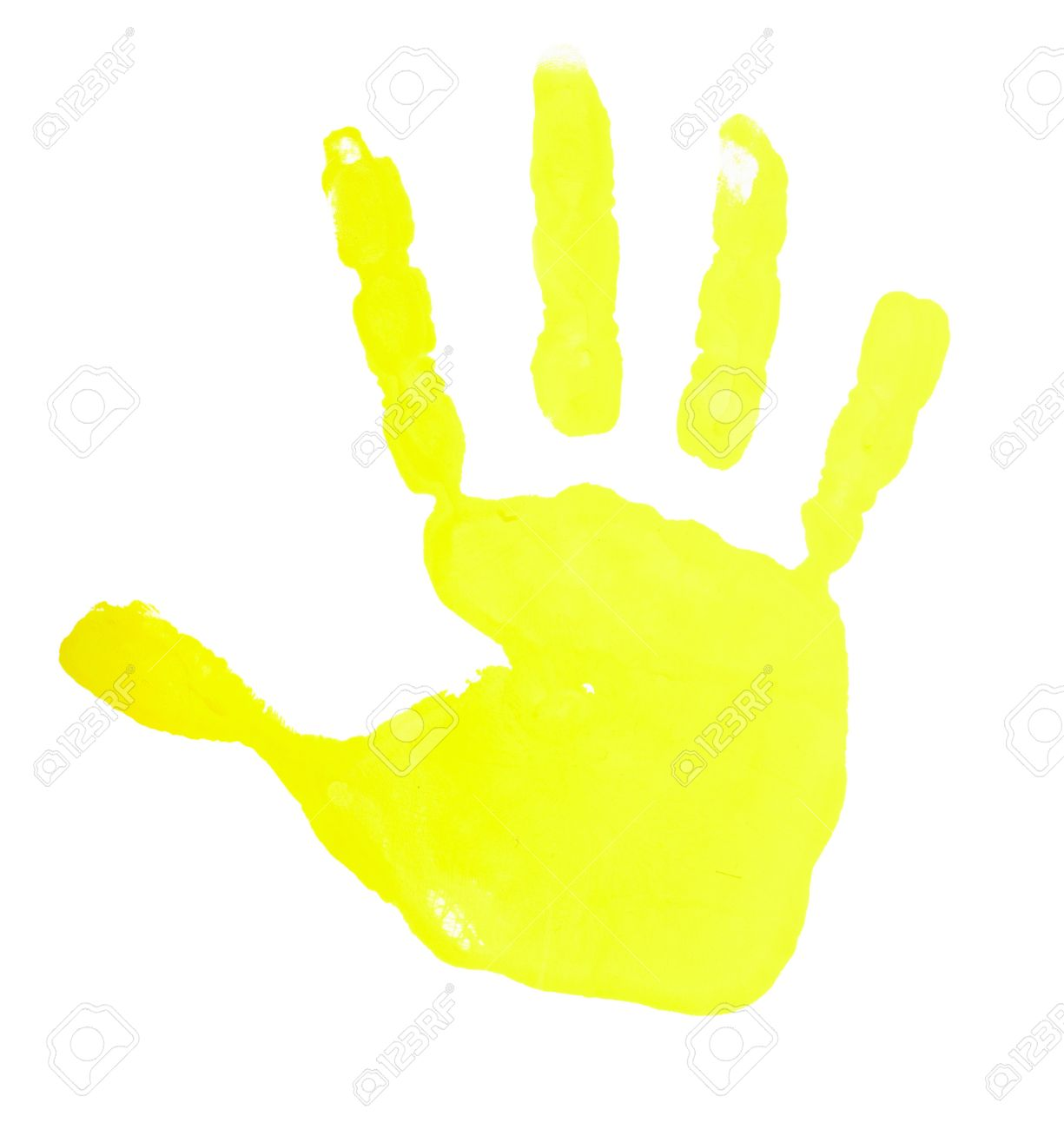 close up of colored hand print on white background Stock Photo - 7068594