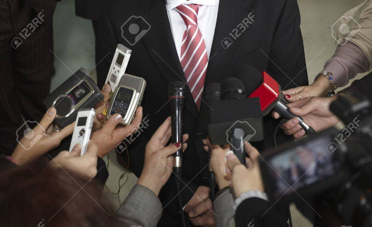 close up of conference meeting microphones and businessman Stock Photo - 7981085