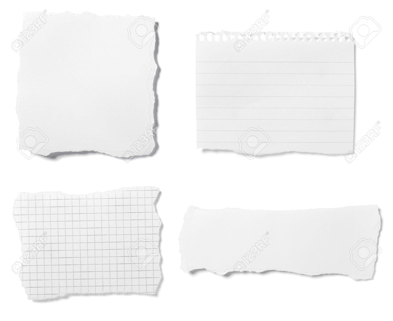collection of  white ripped pieces of paper on white background. each one is shot separately Stock Photo - 8203045