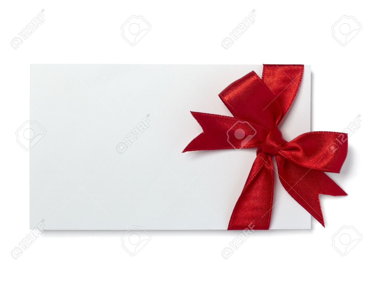 close up of  card note with red ribbon on white background Stock Photo - 8459099