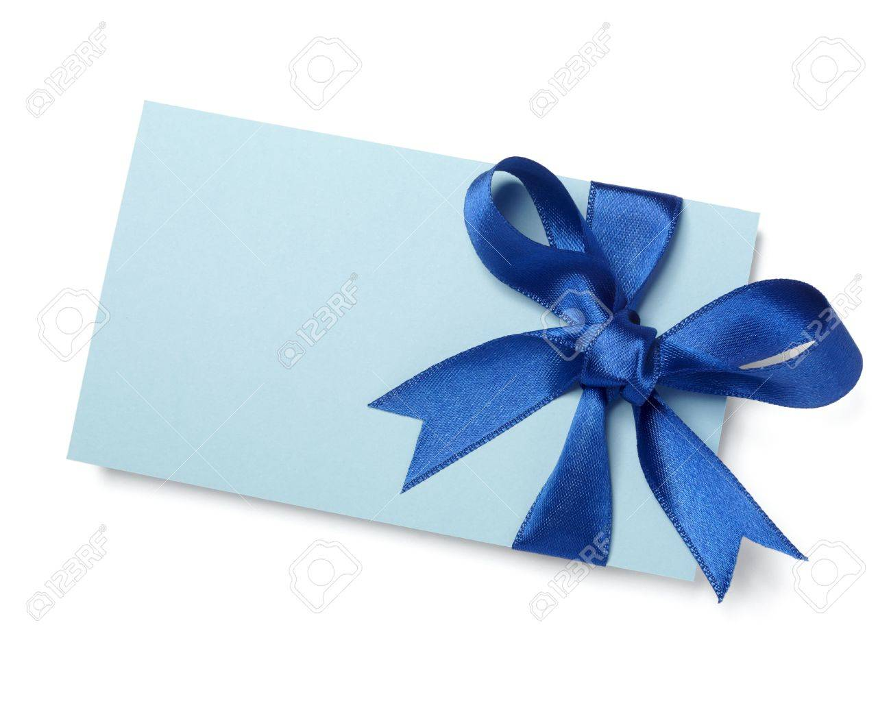 close up of  card note with blue ribbon on white background Stock Photo - 8459107