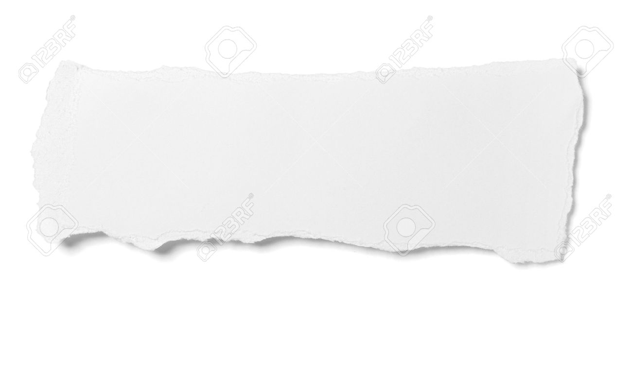 close up of  white ripped piece of paper on white background  with clipping path Stock Photo - 8503153