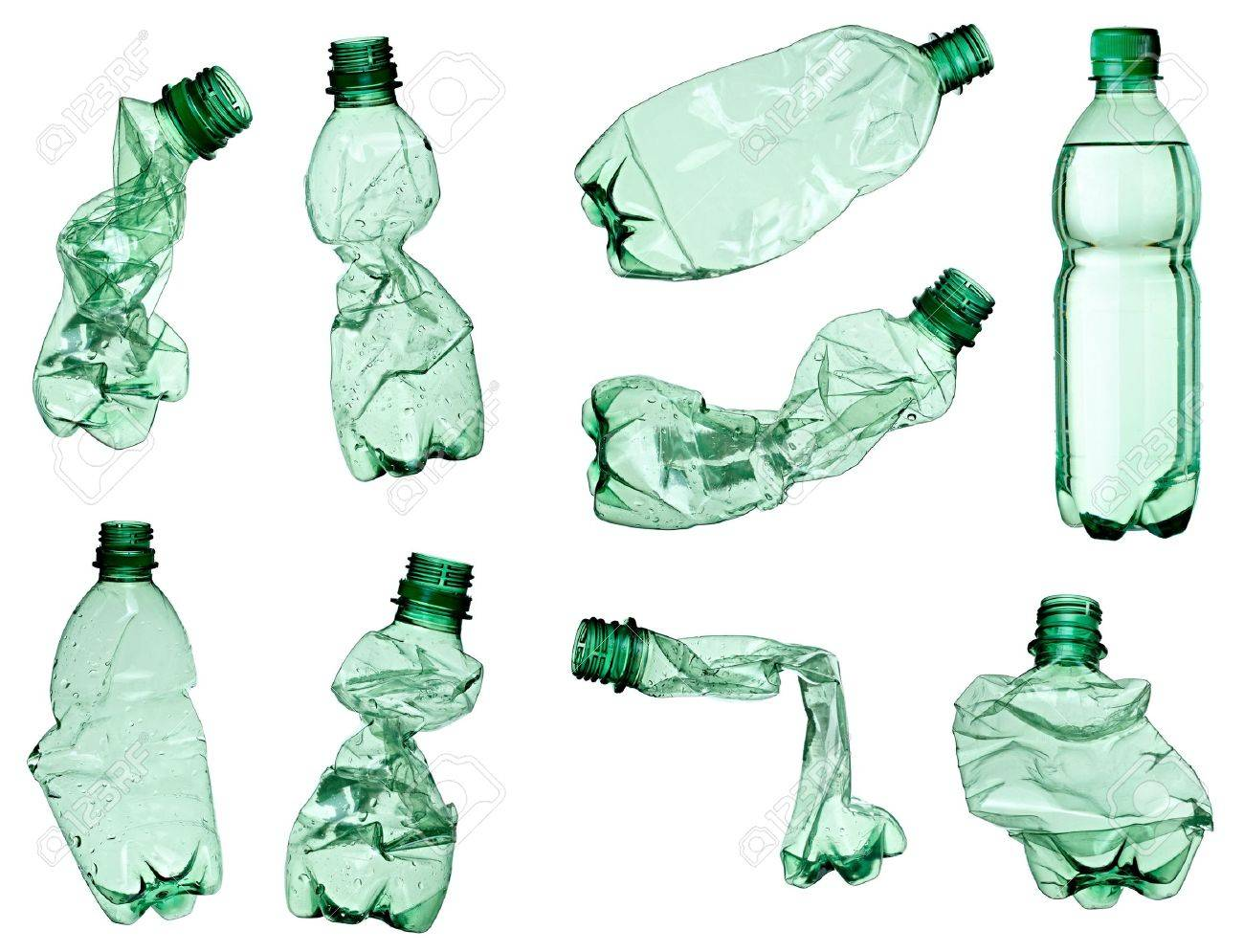 collection of empty used plastic bottles on white background. each one is shot separately Stock Photo - 9390559