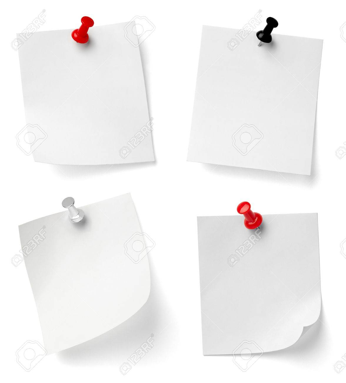collection of various note papers with push pins on white background. each one is shot separately Stock Photo - 9417272