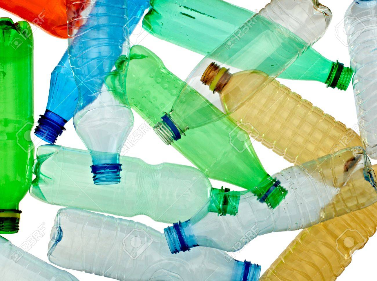 close up of empty used plastic bottles on white background with clipping path Stock Photo - 9479599