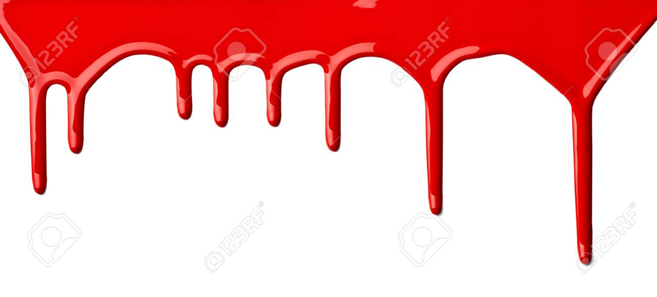 close up of red paint leaking on white background Stock Photo - 9479564