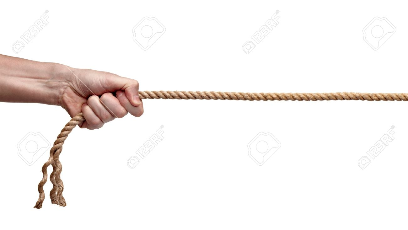 close up of hands pulling a rope on white background with clipping path Stock Photo - 9518102