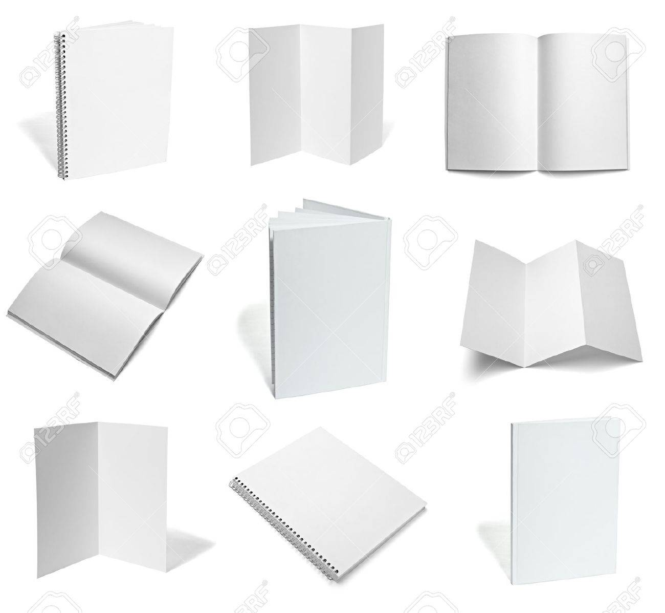 collection of various  blank white paper on white background. each one is shot separately Stock Photo - 9774684