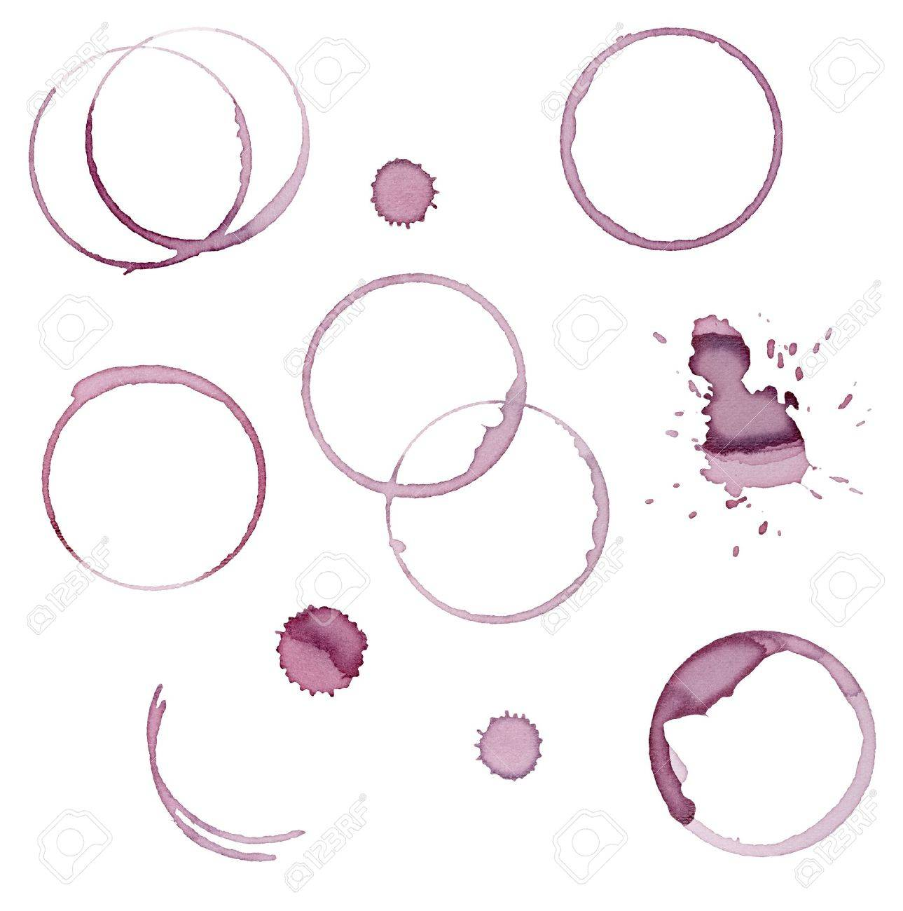 collection of  various wine stains on  white background. each one is shot separately Stock Photo - 9915569